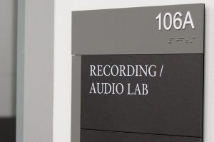 recording/audio lab sign