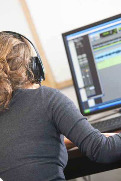 student in sound lab