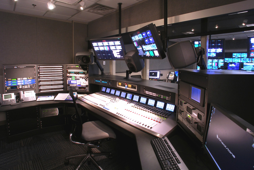 broadcast studio control room