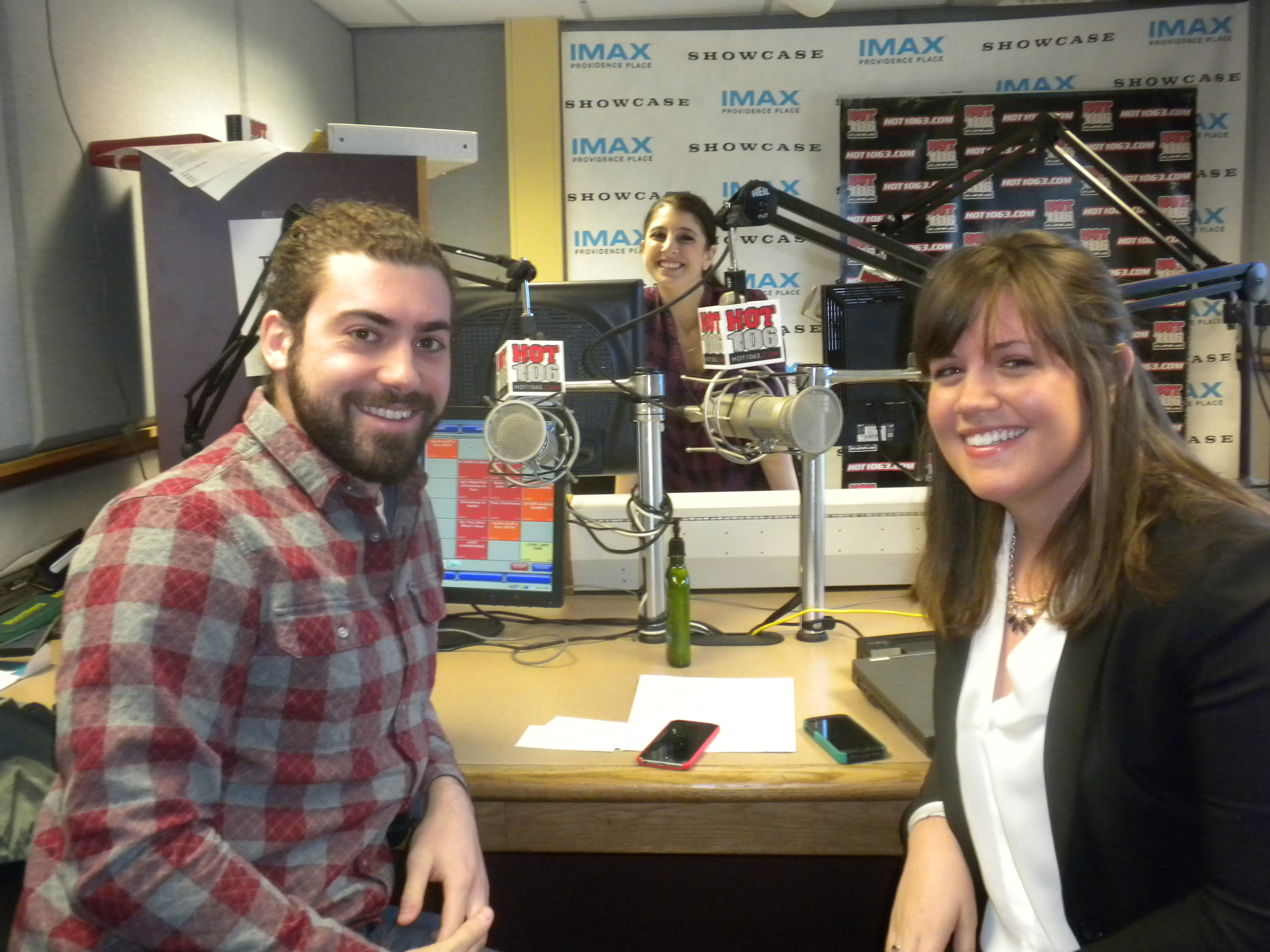 Students in the radio station of Hot 106