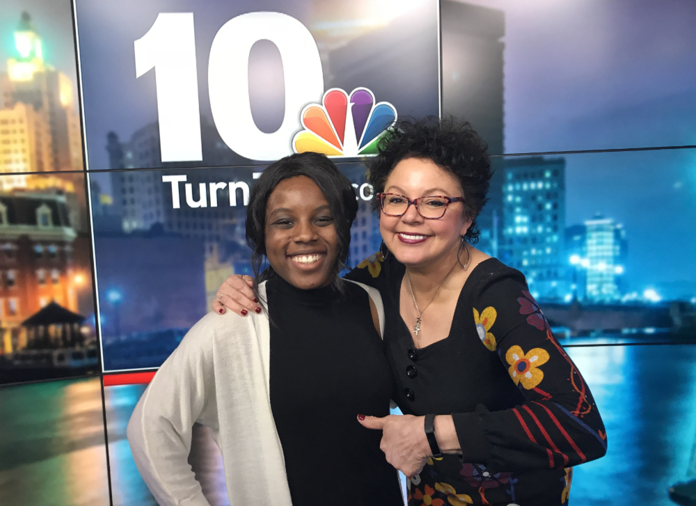 Chelsea Opong-Wadeer '18 and Barbara Morse Silva at NBC 10