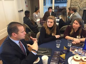 Harrington Board member speaks to students at networking event