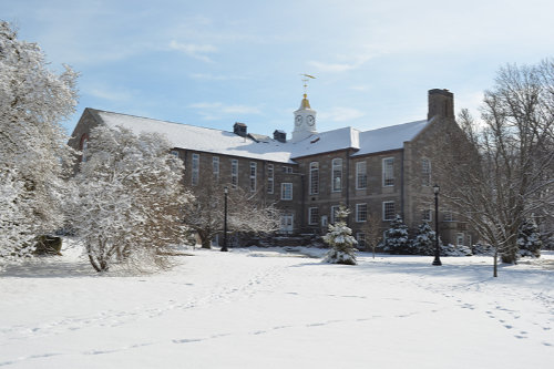 Green Hall in the snow